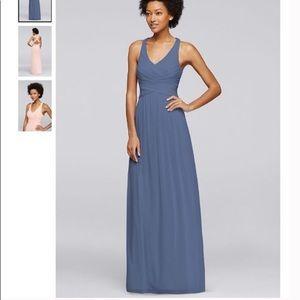 David's Bridal Bridesmaids Steel Blue Dress, 2